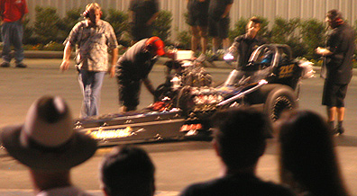 Fuzzy shot of dragster.