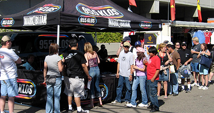 Line-up of people at KLOS booth.