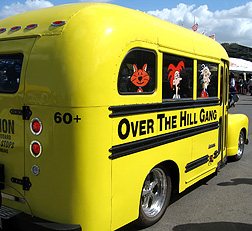 Over the hill school bus.