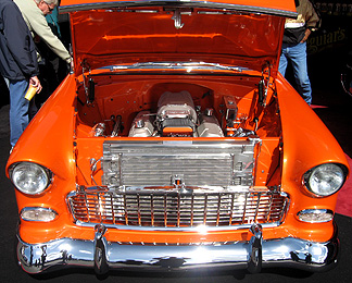 A beautiful orange engine compartment.