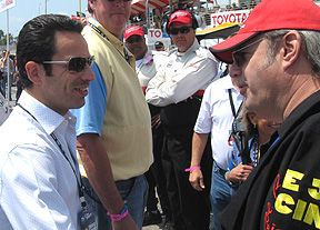 Helio Castroneves talking w/Joe.