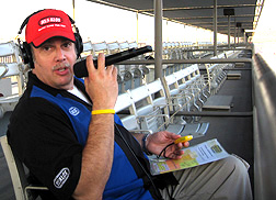 JB on-air trackside.