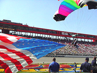 Sky divers & flags