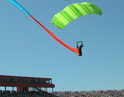 Green skydiver.