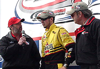 Pat & Joe with winner Sam Hornish.